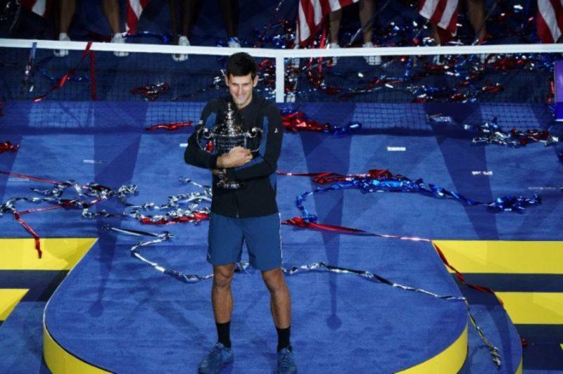 Novak Djokovic celebrates his victory over Juan Martin del Potro
